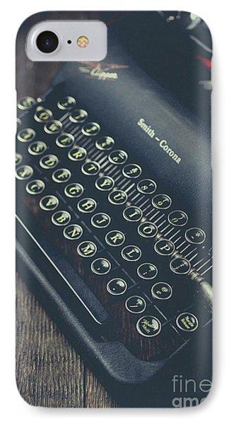 Vintage Typewriter Faded Film Phone Case by Edward Fielding