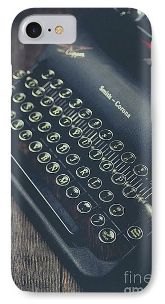 IPhone Case featuring the photograph Vintage Typewriter Faded Film by Edward Fielding