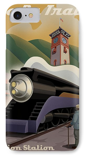 Vintage Union Station Train Poster IPhone Case by Mitch Frey
