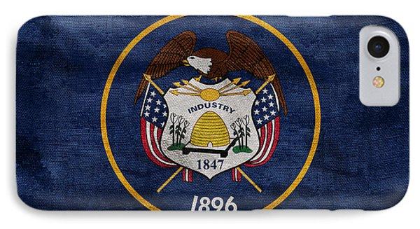 Vintage Utah Flag IPhone Case by Jon Neidert