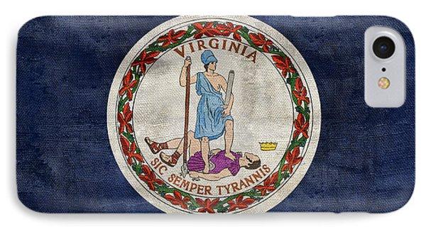 Vintage Virginia Flag IPhone Case by Jon Neidert