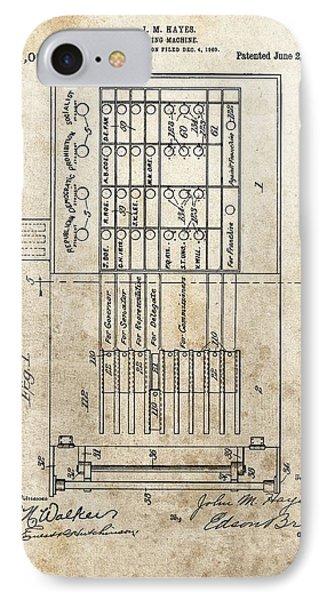 Vintage Voting Machine Patent IPhone Case