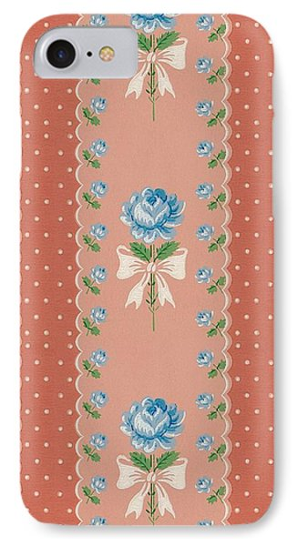 IPhone Case featuring the digital art Vintage Wallpaper Blue Roses Coral Polka Dots by Tracie Kaska