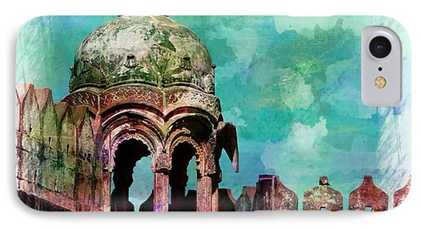 Vintage Watercolor Gazebo Ornate Palace Mehrangarh Fort India Rajasthan 2a IPhone Case