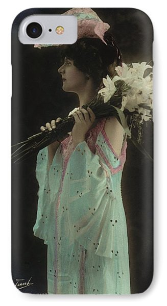 Vintage Woman In Gown Holding Lilies IPhone Case by Gillham Studios