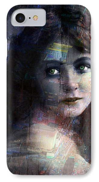 Vintage Woman Pop With Modern Highlights Blue Vertical  IPhone Case by Tony Rubino