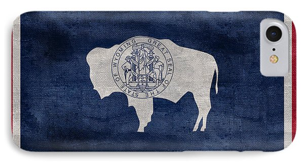 Vintage Wyoming Flag IPhone Case by Jon Neidert
