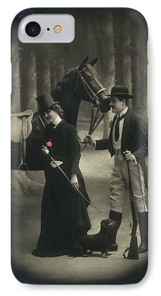 Vintage Young Woman And Man With Gun IPhone Case by Gillham Studios