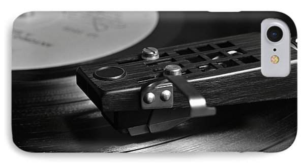 Vinyl Record Playing On A Turntable In Monochrome IPhone Case by Angelo DeVal