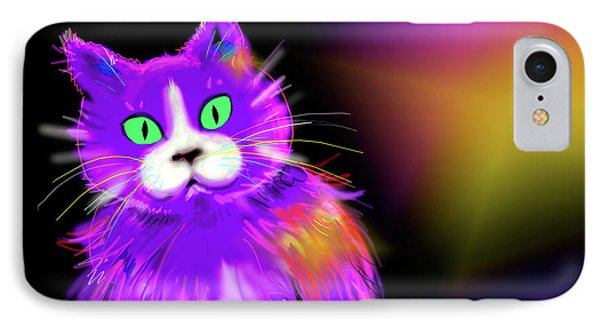 IPhone Case featuring the painting Violet Dizzycat by DC Langer