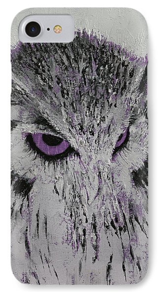 Violet Owl IPhone Case by Michael Creese