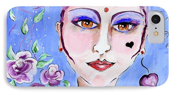 Violeta - Woman Face Art By Valentina Miletic IPhone Case by Valentina Miletic