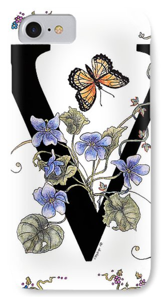 Violets And A Viceroy Butterfly IPhone Case by Stanza Widen
