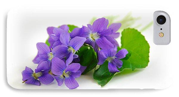 Violets On White Background IPhone Case by Elena Elisseeva
