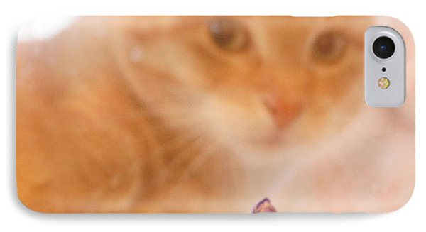 IPhone Case featuring the digital art Violets With Cat by Jana Russon