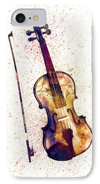 Violin iPhone 7 Case - Violin Abstract Watercolor by Michael Tompsett