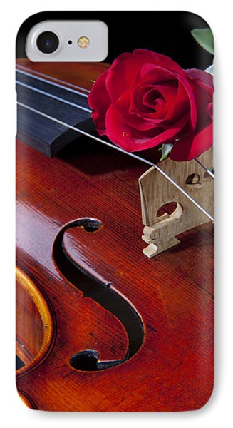 Violin And Red Rose Phone Case by M K  Miller
