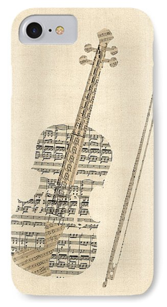 Violin iPhone 7 Case - Violin Old Sheet Music by Michael Tompsett