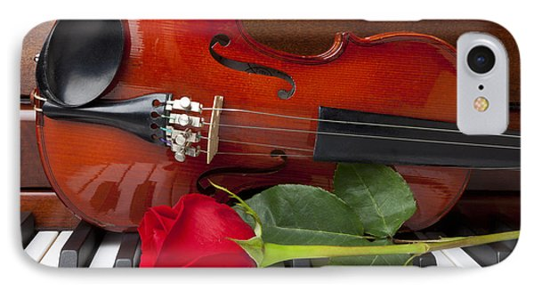 Violin With Rose On Piano Phone Case by Garry Gay