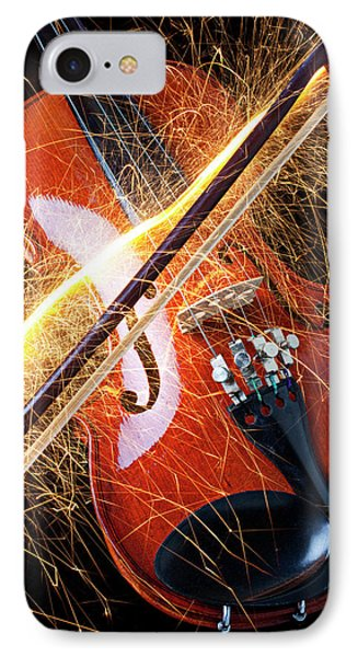 Violin With Sparks Flying From The Bow Phone Case by Garry Gay