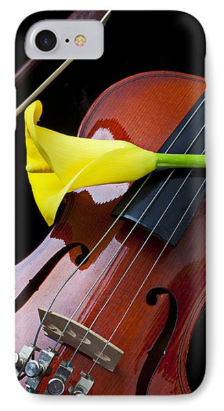 Violin iPhone 7 Case - Violin With Yellow Calla Lily by Garry Gay
