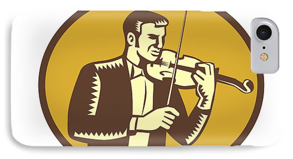 Violinist Musician Playing Violin Woodcut IPhone Case by Aloysius Patrimonio