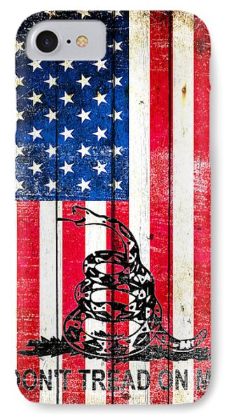 Viper On American Flag On Old Wood Planks Vertical IPhone Case by M L C
