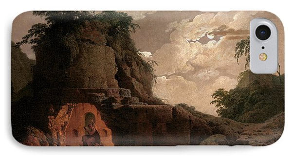 IPhone Case featuring the painting Virgil's Tomb By Moonlight With Silius Italicus Declaiming by Joseph Wright of Derby