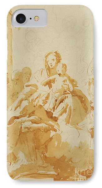 Virgin And Child Adored By Bishops, Monks And Women IPhone Case by Tiepolo