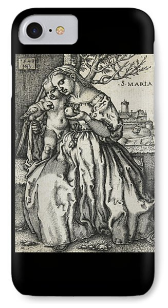 Virgin And Child With A Parrot IPhone Case by Hans Sebald Beham