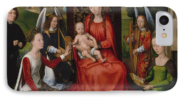 Virgin And Child With Saints Catherine Of Alexandria And Barbara, 1480 IPhone Case by Hans Memling