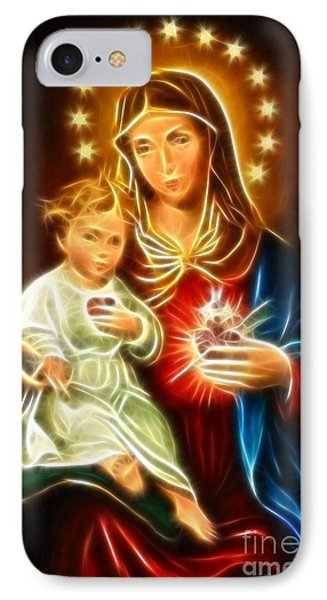 Virgin Mary And Baby Jesus Sacred Heart Phone Case by Pamela Johnson