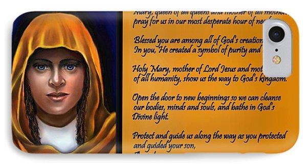 Spiritual Virgin Mary And Prayer IPhone Case by Carmen Cordova
