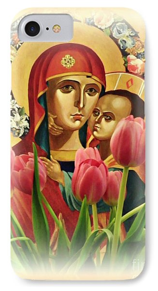 Virgin Mary And Tulips      IPhone Case by Sarah Loft
