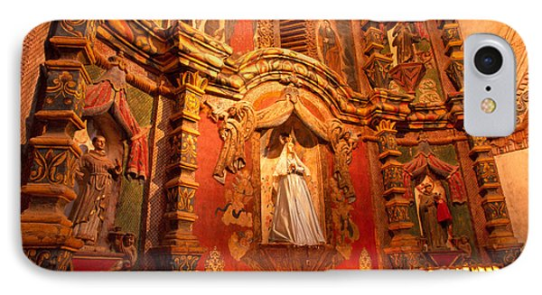 Virgin Mary Statue Candles Mission San Xavier Del Bac IPhone Case by Thomas R Fletcher