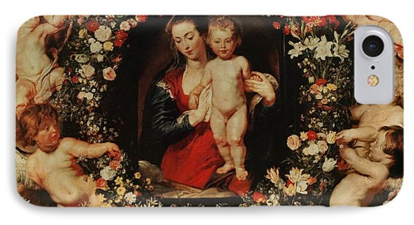 Virgin With A Garland Of Flowers Phone Case by Peter Paul Rubens
