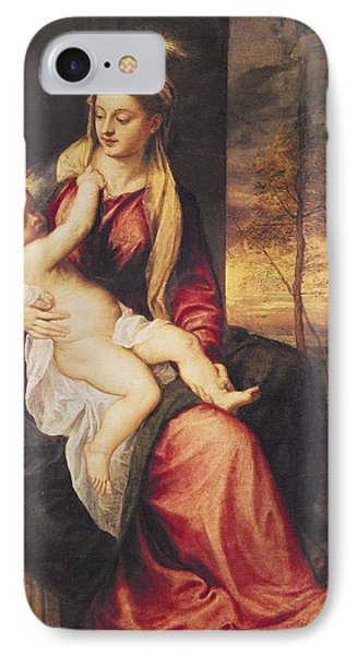 Virgin With Child At Sunset Phone Case by Titian