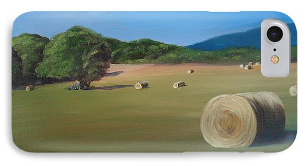 IPhone Case featuring the painting Virginia Hay Bales by Donna Tuten