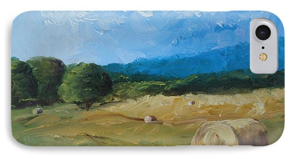 IPhone Case featuring the painting Virginia Hay Bales II by Donna Tuten
