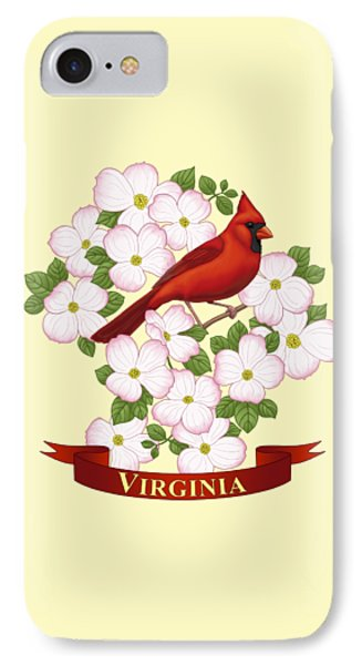 Virginia State Bird Cardinal And Flowering Dogwood IPhone Case by Crista Forest
