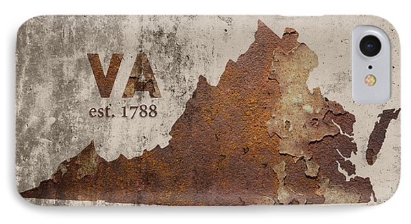 Virginia State Map Industrial Rusted Metal On Cement Wall With Founding Date Series 028 IPhone Case by Design Turnpike