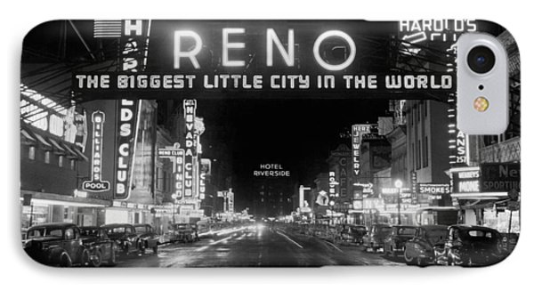 Virginia Street In Reno IPhone Case by Underwood Archives