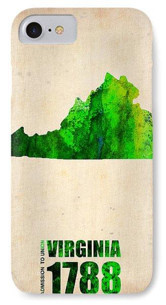 Virginia Watercolor Map Phone Case by Naxart Studio