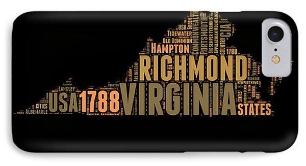 Virginia Word Cloud Map 1 IPhone Case by Naxart Studio