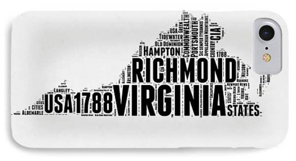 Virginia Word Cloud Map 2 IPhone Case by Naxart Studio