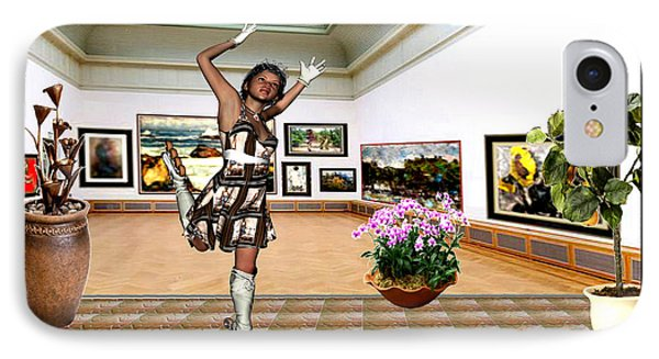 Virtual Exhibition - A Girl With A Pairro Dress IPhone Case by Danail Tsonev