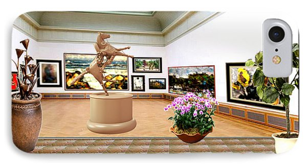 Virtual Exhibition - A Modern Horse Statue IPhone Case by Pemaro