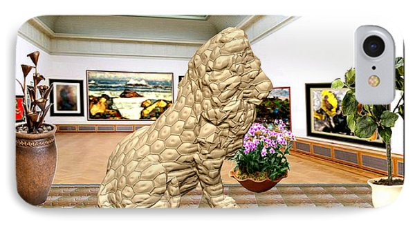 Virtual Exhibition - Statue Of A Lion IPhone Case by Pemaro