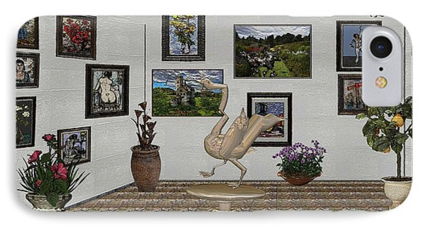 IPhone Case featuring the mixed media virtual exhibition_Statue of swan 23 by Pemaro