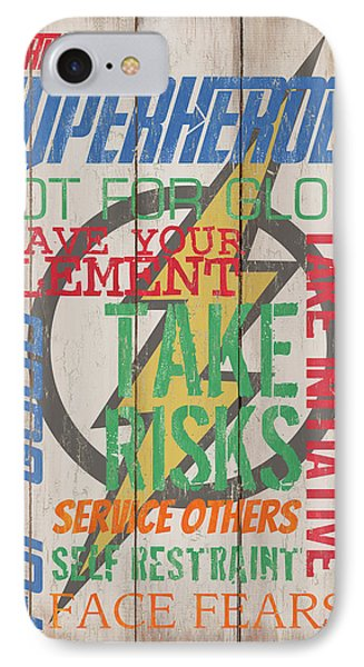 Virtues Of A Superhero IPhone Case by Debbie DeWitt
